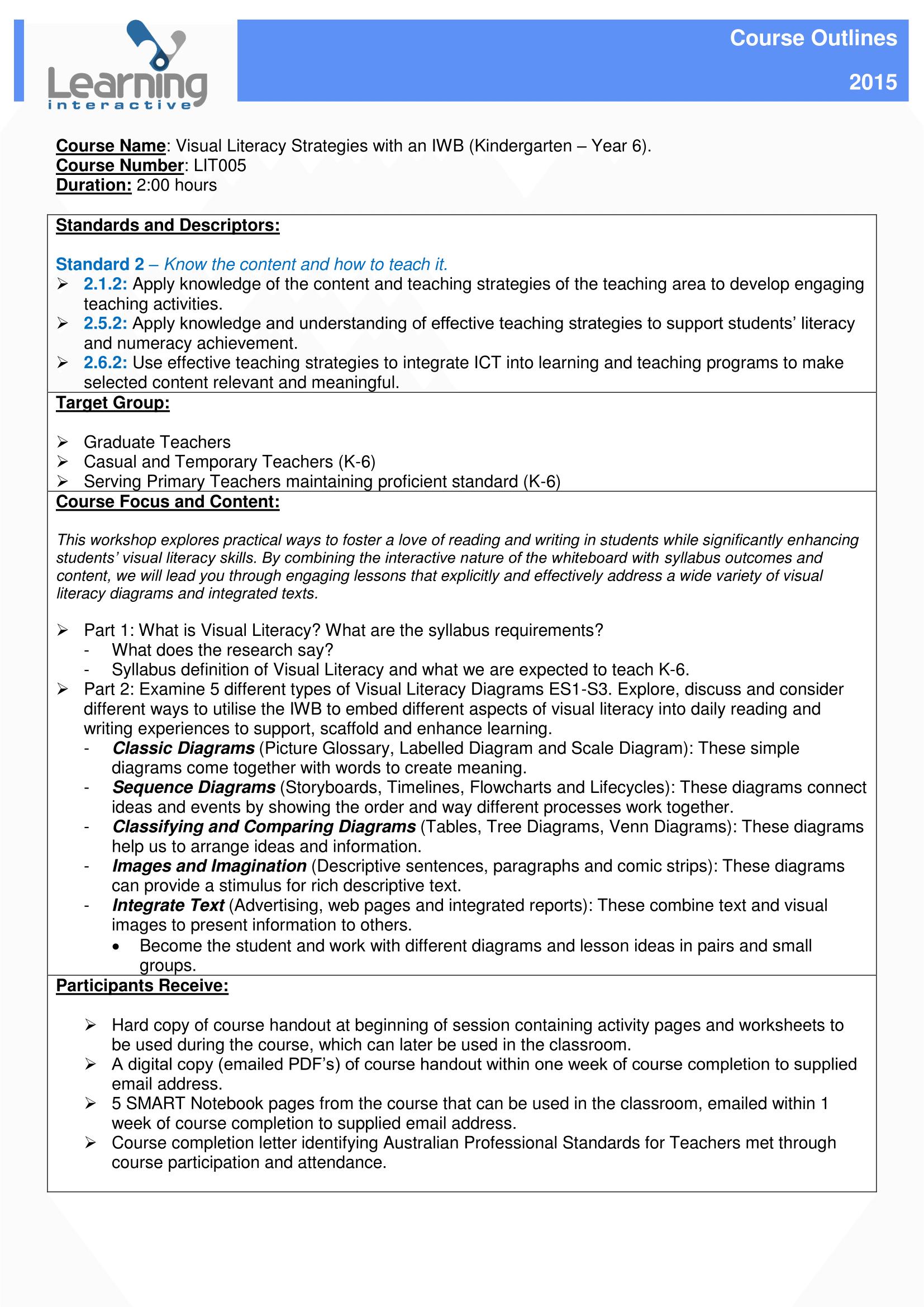PD Course Overview - LIT005 - Vis Lit
